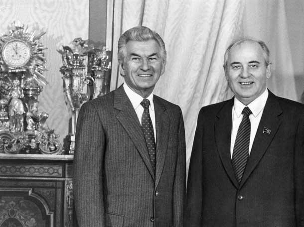 Премьер-министр Австралии Боб Хоук и М.С.Горбачев