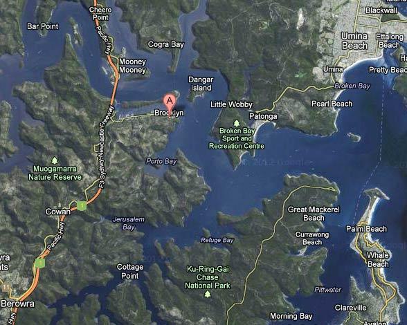 Карта северных районов большого Сиднея, Google